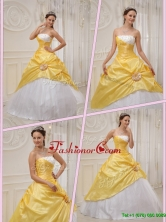 Unique Ball Gown Strapless Quinceanera Dresses in Yellow  QDZY366BFOR