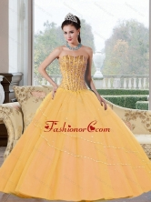 Unique Beading Strapless 2015 Quinceanera Dresses in Gold QDDTD21002FOR