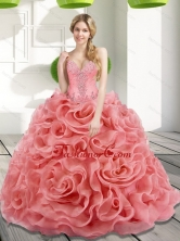 Unique Beading and Rolling Flowers 2015 Watermelon Quinceanera Dresses SJQDDT17002-2FOR