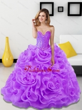 Unique Beading and Rolling Flowers Lavender 2015 Quinceanera Dresses SJQDDT18002-2FOR