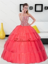 Unique Beading and Ruffled Layers Sweetheart Coral Red Quinceanera Dresses for 2015 QDDTA39002FOR