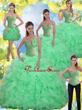 Unique Beading and Ruffles Apple Green Quinceanera Dresses with Sweetheart SJQDDT13001FOR