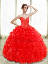 Unique Beading and Ruffles Red Quince Dresses SJQDDT28002FOR
