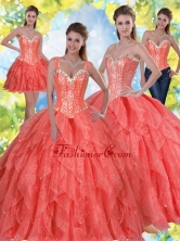 Unique Beading and Ruffles Sweet Sixteen Dresses in Coral Red SJQDDT23001-3FOR