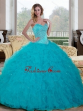 Unique Beading and Ruffles Sweetheart 2015 Quinceanera Dresses in Teal QDDTC28002-1FOR