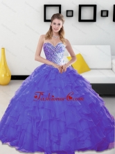 Unique Beading and Ruffles Sweetheart Lavender Quinceanera Dresses for 2015 SJQDDT14002-3FOR