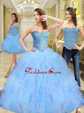 Unique Beading and Ruffles Sweetheart Quinceanera Dresses in Multi Color SJQDDT11001FOR