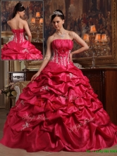 Unique Coral Red Ball Gown Strapless Quinceanera Dresses  QDZY466AFOR