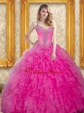 Unique Hot Pink Dress for Quinceanera with Beading and Ruffles SJQDDT27002-1FOR