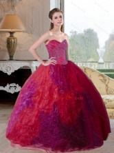 Unique Multi Color 2015 Quinceanera Gown with Beading and Ruffles QDDTC4002FOR