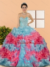 Unique Multi Color 2015 Sweet 15 Dresses with Beading and Ruffles QDDTC5002FOR