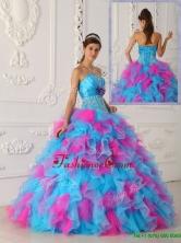 Unique Multi Color Floor Length Appliques Quinceanera Dresses  QDZY464AFOR