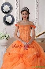 Unique  Off The Shoulder Quinceanera Dresses in Orange  QDZY575CFOR