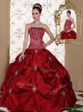 Unique Pick Ups Strapless Quinceanera Gowns in Wine Red MLD090710BFOR