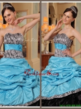 Unique Ruffles Strapless Quinceanera Gowns in Blue and Black  QDZY434BFOR