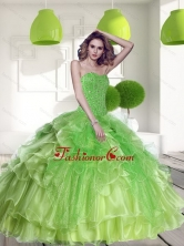 Unique Spring Green 2015 Quinceanera Dress with Beading and Ruffles QDDTD10002FOR
