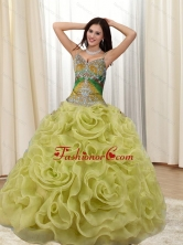 Unique Straps Appliques and Rolling Flowers Multi Color Quinceanera Dresses for 2015 SJQDDT20002-3FOR