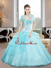 Unique Sweetheart 2015 Quinceanera Gown with Appliques and Beading QDDTB23002FOR