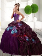Unique Sweetheart 2015 Quinceanera Gown with Appliques and Pick Ups 246.25 QDDTB13002FOR
