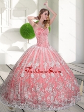 Unique Sweetheart 2015 Quinceanera Gown with Beading and Lace QDDTC17002FOR
