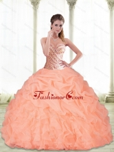 Unique Sweetheart Beading and Pick Ups Peach 2015 Quinceanera Dresses SJQDDT22002FOR