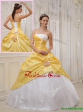 Unique Yellow Ball Gown Strapless Quinceanera Dresses QDZY366AFOR