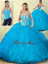 Vintage Sweetheart Beading Blue Quinceanera Dress with Ruffles SJQDDT202002FOR