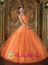 Sweetheart Wholesale Orange 2013 Quinceanera Dress Appliques Floor-length Organza Ball Gown In Monte Carmelo Venezuela Style QDZY188FOR