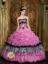 2013 Lambayeque Peru Customer Made Rose Pink Elegant Zebra and Organza Picks Up wholesale Quinceanera Dress Wear For Sweet 16 Style QDZY028FOR