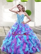 2015 Lovely Sweetheart Multi Color Quinceanera Dresses with Beading and Ruffles QDDTA71002FOR