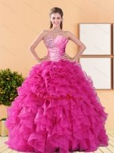 2015 Comfortable Beading and Ruffles Quinceanera Dresses in Hot Pink QDDTA42002FOR
