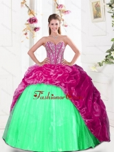 2015 Fashionable Sweetheart Quinceanera Gown with Beading and Pick Ups QDDTA30002-1FOR