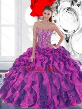 2015 Luxurious Beading and Ruffled Layers Quinceanera Dresses in Multi Color QDDTA24002FOR