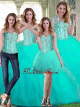 2015 Winter Luxurious Sweetheart Beaded Quinceanera Dresses with Ruffles SJQDDT71001FOR