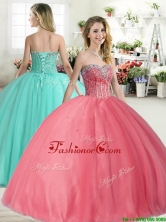 Affordable Beaded Big Puffy Quinceanera Dress in Coral Red YYPJ050FOR