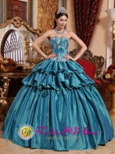 Arequipa Peru Sweetheart Pick ups and Appliques Turquoise Luxurious wholesale Quinceanera Dresses for Sweet 16 Style QDZY673FOR