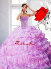 Artistic Strapless Appliques and Ruffles 2015 Quinceanera Dress in Lilac QDDTB10002FOR