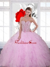 Beautiful Beading and Ruffles Sweetheart 2015 Quinceanera Dresses in Baby Pink QDDTA28002FOR