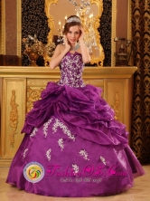 Cajamarca Peru Fuchsia wholesale Quinceanera Dress For 2013 Strapless Organza With Beaded Lace Appliques Style QDZY069FOR