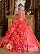 Chiclayo Peru Customer Made Stylish Orange Red Emboridery and Beading Sweet 16 Dress With Sweetheart wholesale Taffeta Style QDZY265FOR