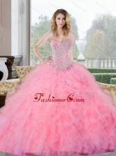 Colorful Beading and Ruffles Sweetheart Quinceanera Gown for 2015 QDDTC27002-1FOR
