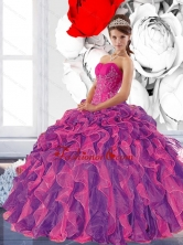 Colorful Sweetheart 2015 Quinceanera Dress with Appliques and Ruffles QDDTB33002FOR