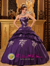 Custom Made Dark Purple Wholesale Quinceanera Dress Appliques Decorate Bodice Taffeta Floor-length For 2013 In Cantaura Venezuela Style QDZY022FOR