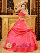 Customer Made Wholesale  Stylish Strapless Watermelon Red Beading and Appliques Quinceanera Dress Party Style For 2013 In Puerto Ayacucho Venezuela Style QDZY025-2FOR