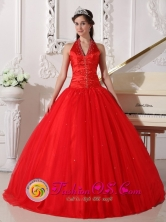 Customized Wholesale A-line Halter Beaded Decorate  Red Tulle Sweet 16 Dress In Santa Ana Venezuela Style QDZY682FOR