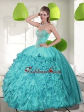 Discount Beading and Ruffles Strapless Aqua Blue Quinceanera Dresses for 2015 QDDTC32002FOR