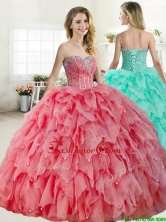 Discount Coral Red Quinceanera Dress with Beading and Ruffles YYPJ054FOR