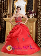 Discount Red  Wholesale Quinceanera DressWith Embroidery Decorate For 2013 Winter Quinceanera In Moran Venezuela Style QDZY282FOR