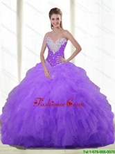 Elegant 2015 Summer Sweetheart Quinceanera Dresses with Beading and Ruffles SJQDDT84002FOR
