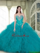 Elegant Ball Gown Quinceanera Dresses with Beading and Ruffles in Turquoise for 2015 Summer SJQDDT86002FOR